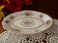 VINTAGE PETIT POINT CHINA TRAY / DISH 200 MM LONG X 125 MM WIDE BY ROYAL ALBERT