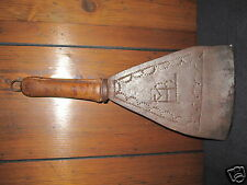 ANTIQUE AMERICAN FOLK ART FORGED IRON DECORATED WHALE BLUBBER TOOL INITIALS FMB