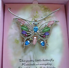 Necklace Butterfly Pendant pink green purple blue sparkly  pretty- gift box