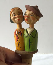 Vintage Couple Kissing Hand Carved Painted Wood Mechanical Wine Cork Stopper