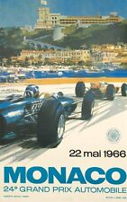 Monaco Grand Prix 1966 on linen design Michael Turner VINTAGE FRENCH RACE POSTER