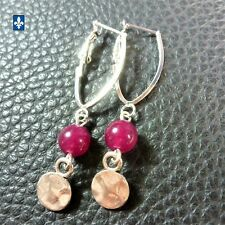 ✨ GROUPED SHIPPING DISCOUNTS  Nice Fuchsia Agate & Plated Silver Earrings