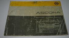 Betriebsanleitung Opel Ascona C LS GL GLS GT CD Bedienungsanleitung Oktober 1984