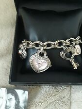 GUESS Women's Watch Silvertone Charm Bracelet Band Heart & Key EUC