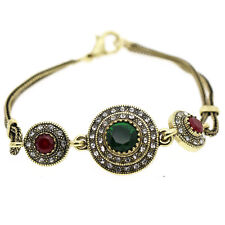 Luxury Lady Vintage Style Emerald Green Red Circles Antique Gold Bracelet BB190