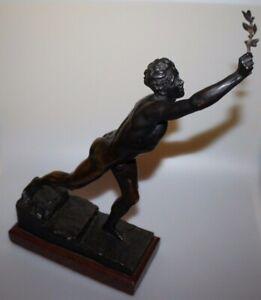 Original Bronze Skulptur von Max Kruse  Der Siegerbote von Marathon Nenikhkamen