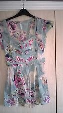 M&S Aqua floral long blouse tunic top blouse size 10
