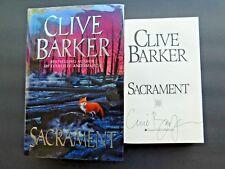 SIGNED copy 1st SACRAMENT by CLIVE BARKER  unread hardcover + jacket 1996 FINE