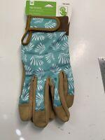High Dexterity Women's Medium Teal/Tan Leather Garden Gloves
