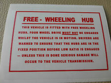 Land Rover Series 1 2 2a 3 FWH Free Wheel Hubs Info Windscreen Bulkhead Decal