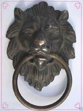 """Chinese Bronze Fierce Lion Head Door Knocker 4.4""""High"""