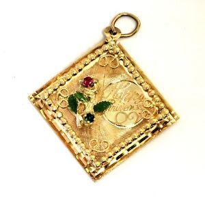 14k yellow gold 3D Happy Anniversary ruby emerald rose flower pendant 3.6g