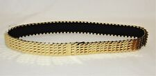 "Vintage Women's Disco Gold Metal Fish Scale Elastic Belt Size Small/Medium 1"" W"