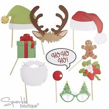 VINTAGE XMAS PHOTO BOOTH SET - Props inc Santa & Elf Hats, Antlers, Glasses Etc