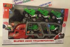 SUPER DINO TRANSPORTER BY TOUGH TRUCKZ. Battery operated. 14 PCS SET.BRAND NEW!!
