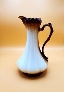 Vintage Handpainted Ceramic PitcherVase. Carmel / Cream Lowered Shipping