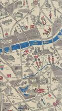 MODA Fabric ~ NEW PASSPORT ~ Moda Classic (33012 15) London Map Cloudy - 1/2 yd