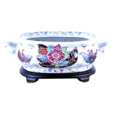 Unique Chinese Tobacco Leaf Porcelain Foot Bath Basin with Base