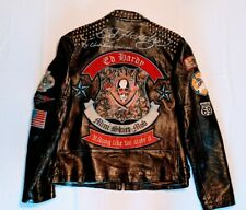Ed Hardy Mens Studded Leather Jacket Size L