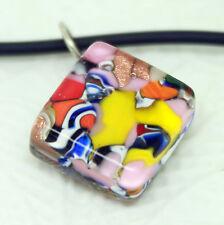 Mehrfarbig Rechteckig Murano Glas Venezianische Anhänger Halskette mit