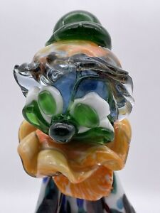 """Possibly the ugliest Vintage Venetian 1960's MURANO GLASS CLOWN 11"""" tall."""