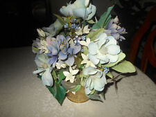 Blue Silk Flower Floral Arrangement in Gold Tone Pot