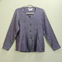 FLAX Engelhart Petite Linen Top Jacket Purple Pleated Lagenlook Peplum Button