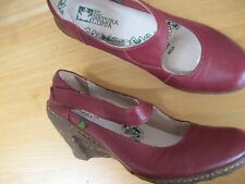 EL NATURA LISTA RED LEATHER MARY JANES WEDGE HEEL SIZE 4  EU SIZE 37