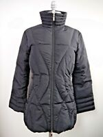 MONCLER black quilted down puffer zip front jacket coat women's size 1