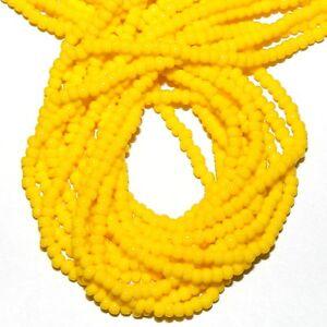 SB460 Yellow Opaque 11/0 2mm Jablonex Traditional Czech Glass Seed Bead Hank