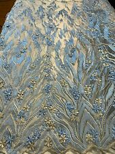 Modern Lace 3D Flowers/Floral Embroidered Mesh Lace Fabric By The Yard/ Sky Blue