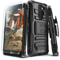 LG K8V Case, Evocel Rugged Dual Layer Holster Case w/ Kickstand & Screen Film