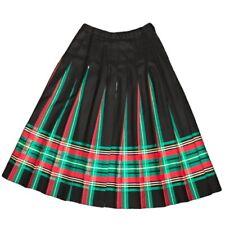 Pendleton Wool Skirt Tartan Plaid Pleated Black Red Green Midi Sz 10 Vtg 90s