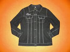 Damen Jeansjacke Jacke von POMPÖÖS Gr. 44 (XL) in Schwarz/Weiß NEU