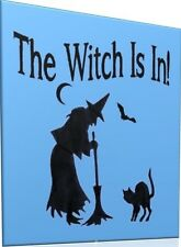 Halloween Stencil The Witch Is In! Witch Broom Cat Bat Moon for Sign Pillow
