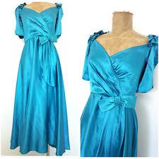 Vintage 80s Shiny Satin Prom Dress Size Medium Blue Bridesmaids Puff Sleeve Gown