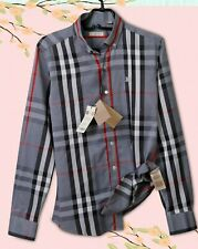 BURBERRY SHIRT MENS GRAY CHECKED LOGO COTTON AUTHENTIC M SIZE