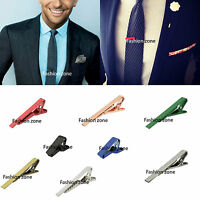 MENS TIE CLIPS Skinny Clips Pins Silver Gold Grey Necktie  5cm 4cm 2cm Red Blue