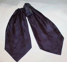 Estate Cable Car Clothiers Robert Kirk NAVY & Red Silk Ascot Cravat Scarf Tie