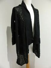 Karen Millen black fine textured waterfall cardigan Size 2 8 10 VGC