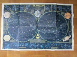 CELESTIAL 1970 MAP NATIONAL GEOGRAPHIC THE HEAVENS  STAR CHARTS BOTH HEMISPHERES