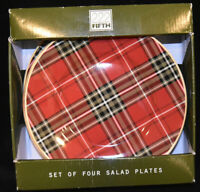 "222 Fifth Wexford Plaid Salad Side Plates Red 8.5"" Set of 4 NEW"