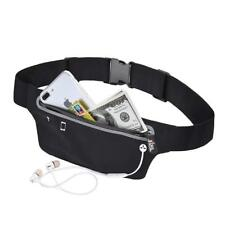 Black Unisex Waist Belt Bum Bag Jogging Running Travel Pouch Keys Mobile Money