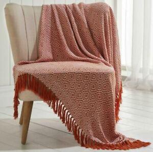 Portfolio Ascot Geometric Tassle Bed / Chair / Sofa Throw - Terracotta - BNWT