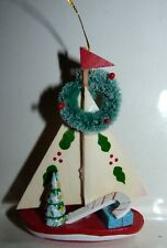 Wooden Sailboat Ornament with Holiday Decorations 3 3/4 inches