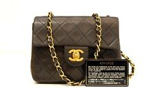 AUTHENTIC CHANEL BLACK QUILTED SMALL FLAP HANDBAG PURSE w/ COA CARD