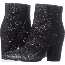 Nine West Savitra Black Silver 7.5 Sparkle Synthetic Ankle Fashion Boots Booties