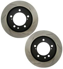 Pair Set 2 Front Stoptech Slot Disc Brake Rotors for Toyota Land Cruiser Tundra