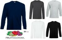 Mens Fruit of the Loom Long Sleeve T Shirt Top Pack Of 10