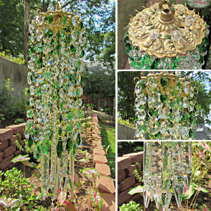 Green Glass Crystal Wind Chimes Outdoor Garden Yard Patio Lawn Gift Home Decor